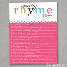 Nursery Rhyme Quiz  Baby Shower Game  Pink by greysquare on Etsy