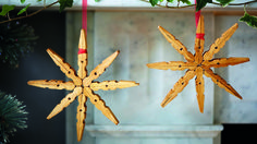 Stars made of wooden pegs | DIY Christmas decorations | Tesco Living