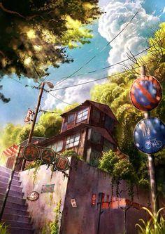 Wallpaper backgrounds landscape concept art 55 ideas for 2019 Art Anime, Anime Kunst, Manga Art, Landscape Concept, Fantasy Landscape, Landscape Art, Landscape Paintings, Fantasy Kunst, Fantasy Art