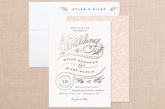 """""""Rolling Names"""" - Rustic, Whimsical & Funny Foil-pressed Wedding Invitations in Rose Gold by Jennifer Wick."""
