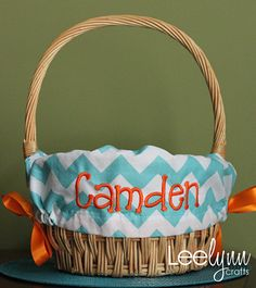 Aqua Chevron Personalized / Monogrammed Easter by LeelynnCrafts, $28.00