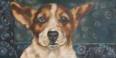 "Daily Paintworks - ""Corgi"" - Original Fine Art for Sale - © Kathy Hiserman"