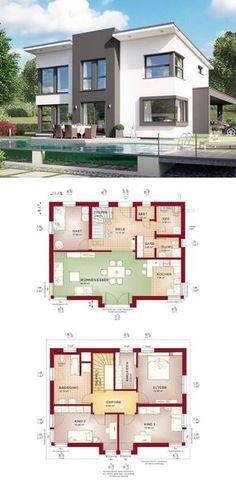 Moderne Stadtvilla mit Pultdach Haus Evolution 148 V9 von Bien Zenker - Einfamilienhaus Grundriss offen mit Wohnküche