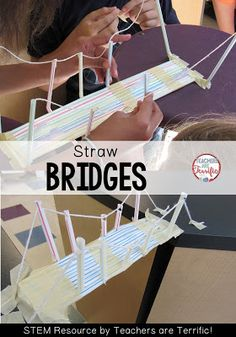 STEM Challenge: Using only two materials kids build one of four kinds of bridges! These turn out so Steam Activities, Science Activities, Children Activities, Stem Science, Science Fair, Stem Classes, Stem Steam, Stem For Kids, Stem Challenges
