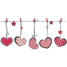 BIN Line Of Hearts – Kreations by Kara – Valentines Day İdeas 2020 Valentines Day Drawing, Valentine Day Crafts, Be My Valentine, Happy Valentines Day Images, Pottery Painting Designs, Happy Paintings, Art And Illustration, Watercolor Cards, Heart Art