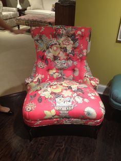 High Point Market 2012-C.R. Laine Floral Slipper Chair.  I'm crazy about this over-sized Coral Floral print!!!!
