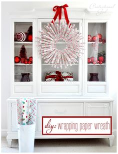 Wrapping paper wreath DIY