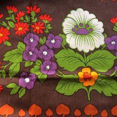 70 s vintage tissu. Mod rétro motif floral. Bon état par Inspiria
