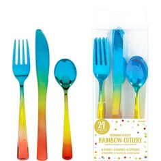 Metallic Rainbow Premium Plastic Cutlery Set 24ct Image #1