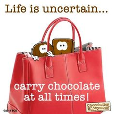 Simple and cute idea, just give w/a purse, gift bag, backpack or re-usable bag and chocolate. Funny Chocolate Quotes, Chocolate Lovers Quotes, Chocolate Humor, Chocolate Wine, I Love Chocolate, How To Make Chocolate, Chocolate Slogans, Chocolate Pictures, Genius Quotes