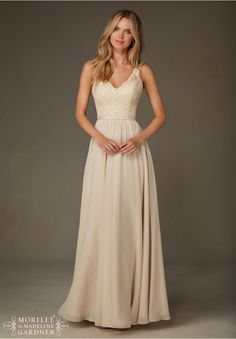 Bridesmaids Dresses Beaded Lace with Chiffon Available in all Mori Lee Solid Lace Bridesmaids colors.