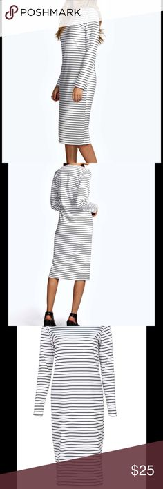 NWT Black White Stripe Long Sleeve Midi Dress NWT Ladies size 6 black and white, long sleeved, striped midi column dress. Too small for me as I ordered the wrong size. From a smoke and pet free home. Boohoo Dresses Midi