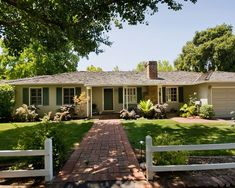 Elegant Landscape At The Ranch Style House Curb Appeal With Brick Walkway White Wood Railings Green Grass White Window Frames Stunning Ranch Style Home Curb Appeal As Your Exterior Ideas : Elegant Landscape At The Ranch Style House Curb Appeal With Brick Walkway White Wood Railings Green Grass White Window Frames Inspiring Ranch Style Home Curb Appeal As Your Exterior Ideas