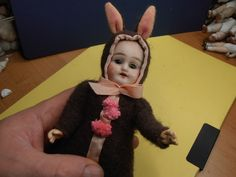 Easter time Antique Dolls Germany easter bunny girl/boy with glass eyes 1910 | eBay