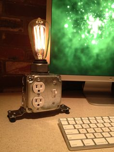 Desk lamp via Etsy.  I am guessing this can be recreated easily if you know somebody that does electrical work. Luckily...I do :)
