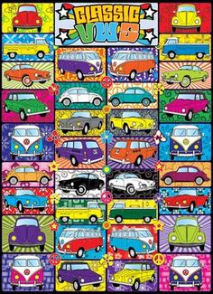 1000 piece puzzle celebrating the classic vw. Buses, beetles, Karman Ghias, Things.  Easy to work on like the original but quieter.
