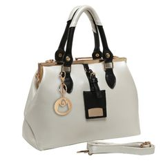 MG Collection REESE Vintage Cream White Doctor Style Handbag