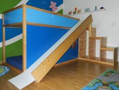 Ikea bed and slide: turn into a playground themed room (playground ideas room) Play Beds, Kid Beds, Girl Room, Girls Bedroom, Ikea Kids Bed, Ikea Kura Hack, Ikea Hacks, Room Setup, Room Themes