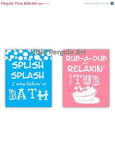 """SALE Kids Bathroom Art Prints,Splish Splash and Rub-a-Dub, 2-8x10"""" prints, great for kids, adults or guest bathrooms, choose your color on Etsy, $26.25"""
