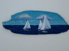 For the beach house: Sailboats Sailing Together Painted on Driftwood by MaryAnnBlosser, $32.00