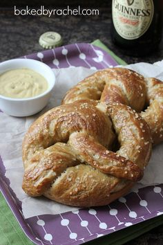 Soft Guinness Pretzels with Sea Salt Recipe from bakedbyrachel.com