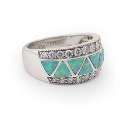 """Moonlit Sea"" Women's Handmade Opal and Diamond Wedding Band"