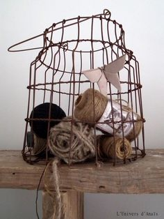 wire containers :: using wire birdcage for storing tulle rolls, and gloss raffia now ... !