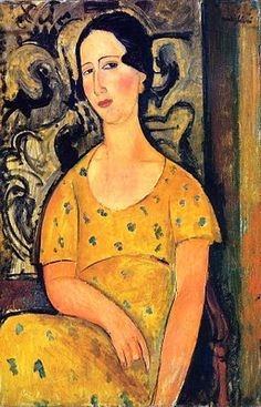 Amedeo Modigliani (1884-1920) Young Woman in a #Yellow Dress (Madame Modot) 1918 - great expression!