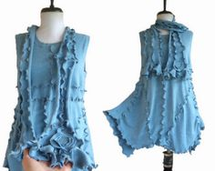 Asymmetric Tunic Sweater Vest  With Scarf M Medium Sky Blue Recycled Lagenlook Eco Friendly Womens Handmade Clothing