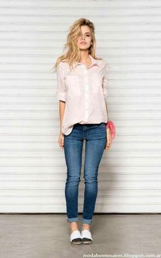 Pink shirt and denim  #casualoutfit