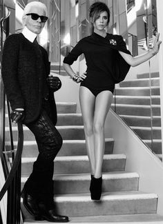 Victoria Beckham and Karl Lagerfeld