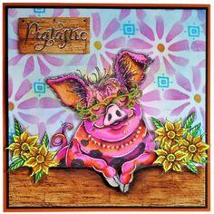 Pink Ink Designs Stamp - Pigtastic - Crafts 4 Less Lavinia Stamps, Go Pink, Ink Stamps, Pink Design, Animal Cards, Funny Cards, Card Making, Crafts, Pork