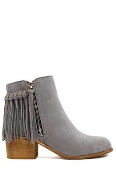 Love Grey! Love the Fringe! Tassel Silver Grey Solid Color Suede Ankle Boots #Silver #Grey #Fringe #Short #Boots #Booties