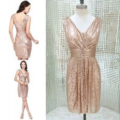 Short V Neck Bridesmaid Formal Dress Sequins Sexy Party Evening Cocktail Gown