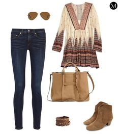 Outfit Inspiration: Jeans with a tunic and neutral accessories to compliment the outfit!