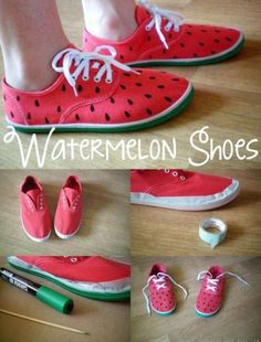 Come to here at The Fabulous Fox wearing your own watermelon shoes. This is a fabulous tutorial! - womens discount shoes, women shoes usa, shoes for women online *ad Painted Sneakers, Painted Shoes, Watermelon Shoes, Watermelon Costume, Watermelon Crafts, Mickey Shoes, Fabulous Fox, Diy Vetement, Shoe Art