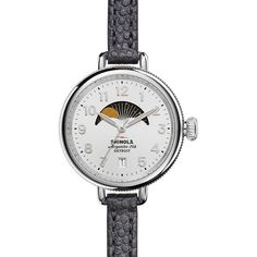 Shinola 34mm Birdy Moon Phase Watch with Leather Strap ($555) ❤ liked on Polyvore featuring jewelry, watches, navy, navy blue jewelry, stainless steel jewelry, stainless steel jewellery, stainless steel wrist watch and navy jewelry