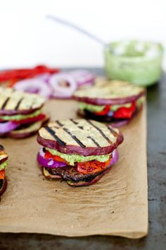 "Sweet Potato Sliders with Portobello, Red Peppers + Pesto ""Mayo"""