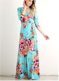 Show details for Floral Miranda Maxi Dress Turquoise