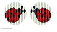 graph, not in English Beaded Earrings Patterns, Seed Bead Patterns, Peyote Patterns, Loom Patterns, Jewelry Patterns, Beading Patterns, Beading Projects, Beading Tutorials, Lady Bug