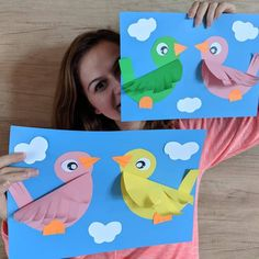 Cute paper Bird Picture If you love crafts like this one check ouYou can find School crafts and more on our website. Spring Crafts For Kids, Paper Crafts For Kids, Craft Activities For Kids, Preschool Crafts, Art For Kids, Bird Paper Craft, Art N Craft, Love Craft, Preschool Art Lessons