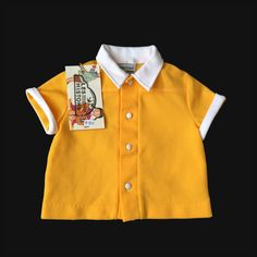 Vintage 60's Yellow Polo Top French stock 6-9 Months