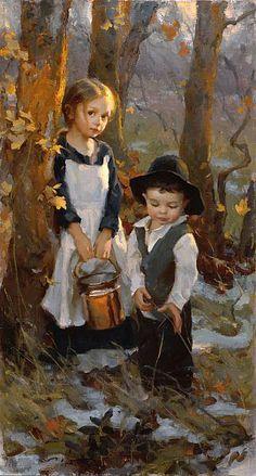Mike Malm, Pioneer Children, oil, 28 x 15 oil - Southwest Art Magazine Paintings I Love, Beautiful Paintings, Art Paintings, Painting Art, Art Sketches, Art Drawings, Art Amour, Art Du Croquis, L'art Du Portrait