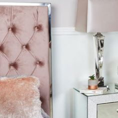 Rose Pink King Size Bed With Chrome Frame And Velvet Style Upholstery | Picture Perfect Home