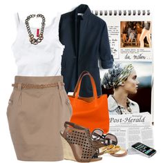 chic white top and tan skirt outfit with navy jacket.