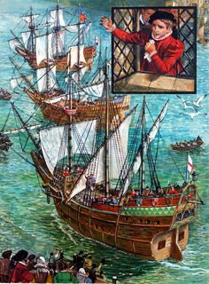 When Three Ships Set Sail (Original) art by Ken Petts at The Illustration Art Gallery Famous Outlaws, Medieval, Native American Warrior, Set Sail, American Country, Illustration Artists, Archipelago, Life Is Beautiful, Sailing Ships