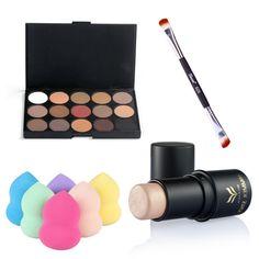 4 PCS Makeup Set Eye Shadow Highlighter Stick+Powder Puff Eyeshdow Brush Beauty Cosmetic Kit Make Up Tools