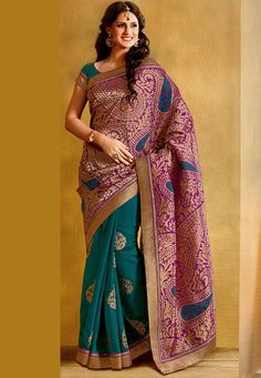 Purple and Teal Blue Art Silk and Art Banarasi Silk Saree with Blouse: SBM4312