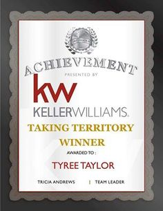 """We feel grateful and blessed for Tyree Taylor to be selected as 1 of the 2 winners in the Keller Williams Frisco Stars """"Taking Territory - Listing Contest"""". We humbly accept this award and it would not be possible without our Friends, Family, Past Clients, Present Clients, Future Clients, Support Group, Business Partners and the people who consistently refer our services to the people they know. Thanks for your referrals and for trusting us with facilitating your real estate transactions."""