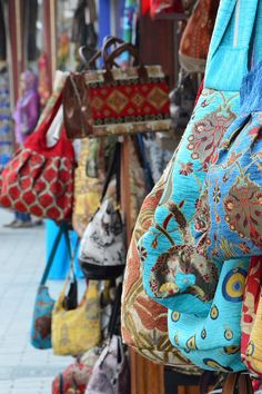 Istanbul, Turkey- colorful, textured purses #purse #texture